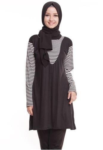 Mybamus Blend Plain Stripe Tunic Black