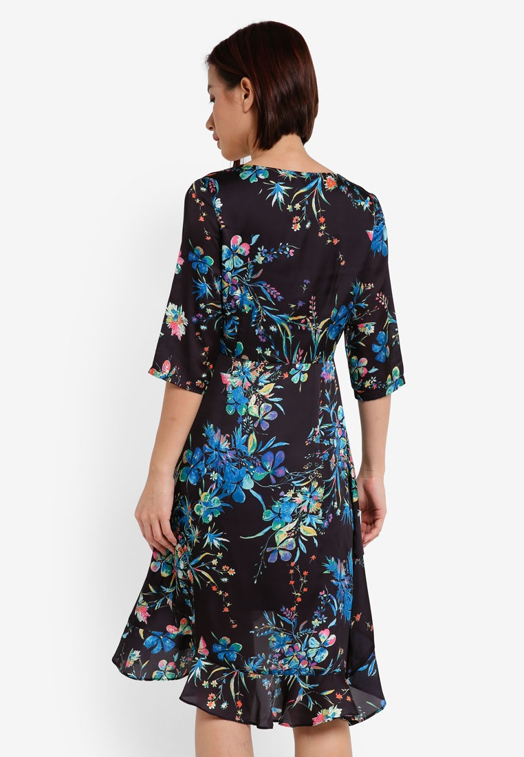 ZALORA 3 Floral Black Wrap Asymmetrical 4 Vibrant Dress Sleeve ffxq47nzv