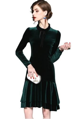 Sunnydaysweety green New Velvet Fish-Tail One Piece Dress UA12121615 B5B44AA45BD9E7GS_1