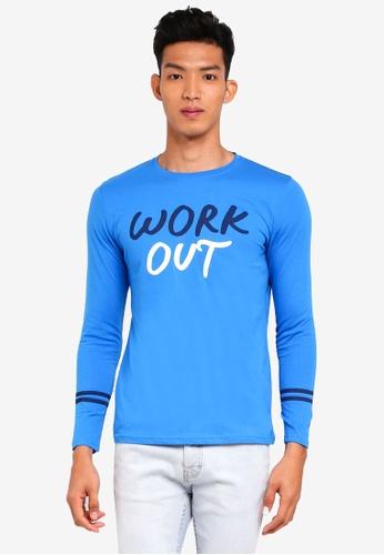 Marc & Giselle 藍色 長袖印花T恤 145EFAA05C17CBGS_1