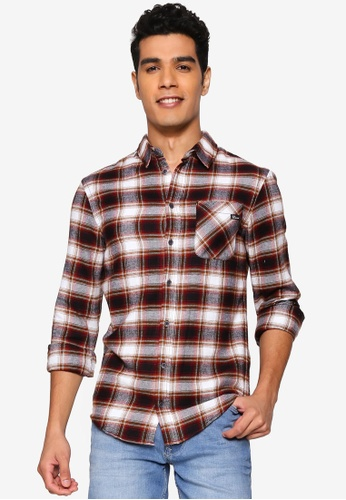 BLEND brown Checked Slim Fit Shirt 34593AABAA39D4GS_1