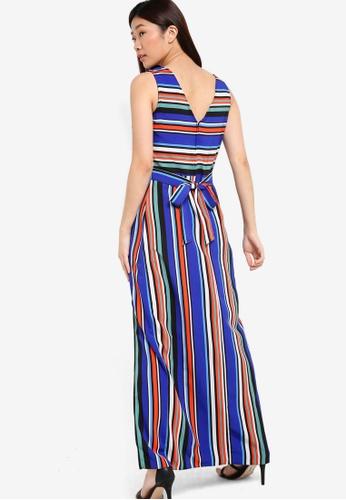 Dorothy Perkins blue and multi Stripe Maxi Dress With Tie Waist DO816AA81POSMY_1