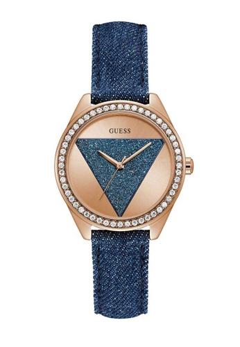 originale elegante e grazioso spedizione gratuita Buy Guess Watch Guess Tri-Glitz Rose Gold and Blue Denim Leather ...
