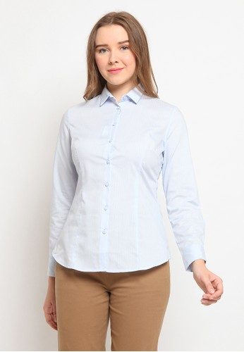 The Executive blue Basic Long Sleeve Shirt 370BDAA5212E01GS_1