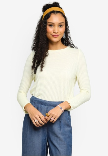 Lubna yellow Round Neck Rib Knit Top 84EF1AA874F02EGS_1