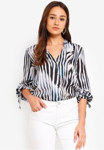2dec66a2 Wallis multi Monochrome Zebra Print Tie Sleeve Shirt C85F2AA16F567CGS_1