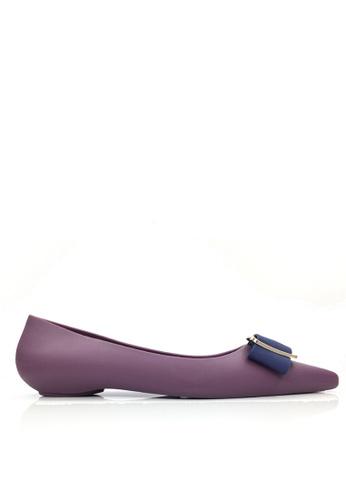 Twenty Eight Shoes 紫色 金屬飾品防水果凍膠平底雨鞋 VR8301 0F3FBSHEDC7586GS_1