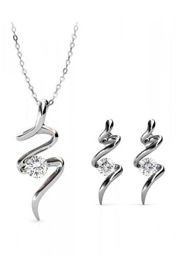 Her Jewellery silver Swarovski® Zirconia - Spiral Set (18K White Gold Plated) Her Jewellery HE581AC0RAE9MY_1