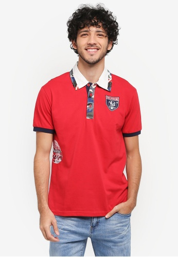 Fidelio red Collar Patch Casual Polo Shirt 34315AA202114DGS_1