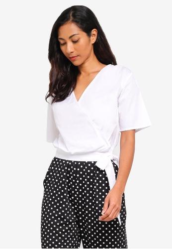 ZALORA BASICS white Basic Short Sleeves Wrap Top 5F9A0AAB6F4D35GS_1
