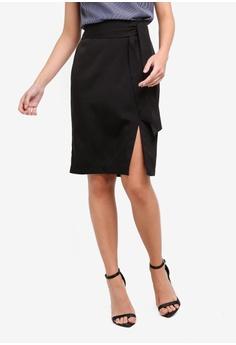 0f74fca3e3bfde ZALORA black Soft Tailored Self Tie Skirt F5633AA272D729GS 1