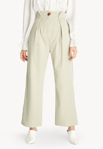 Pomelo green Pleated Waist Pants - Light Green C510FAAD2EE75DGS_1