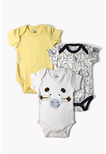 Baby 9months white and multi Newborn Baby White Cow Romper Set (3pcs) 9049BKAB899295GS_1