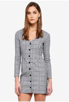 7b0634480fd7 Miss Selfridge grey Check Pintuck Button Mini Dress 90E3AAAD6FD715GS 1