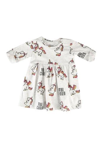 FOX Kids & Baby grey and white Baby-Girls Unicorn Dress 9E5D8KA288230EGS_1
