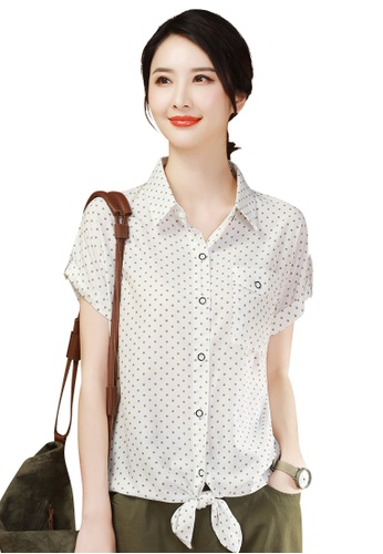 A-IN GIRLS white and green Fashion Polka Dot Chiffon Blouse 78D90AAE2B4B4AGS_1