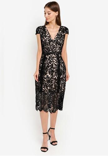 ZALORA OCCASION black Cap Sleeve Lace Midi Sheath Dress 2C3A4AA81C8246GS_1