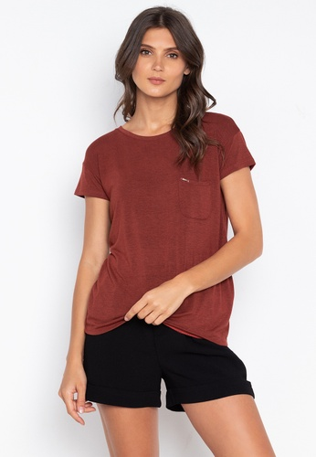 MEMO red Relaxed Fit Pocket Tee B2DF9AA9B39A4FGS_1