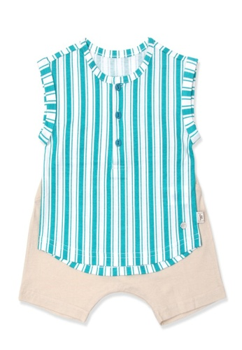 Organic mom white and blue Organic Cotton Andy Striped Outfit DC3DBKA033E4FFGS_1