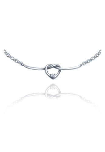 "GOLDHEART gold Goldheart White Gold 750 (18K) ""Love Knot"" Diamond Necklace (B1051) 4935DAC20A87EAGS_1"