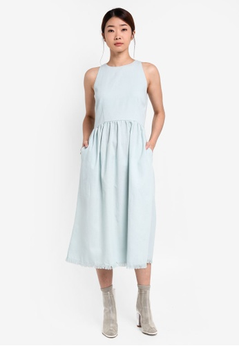 Something Borrowed blue Raw Edge Cut-In Midi Dress 25854AA5B42CA3GS_1