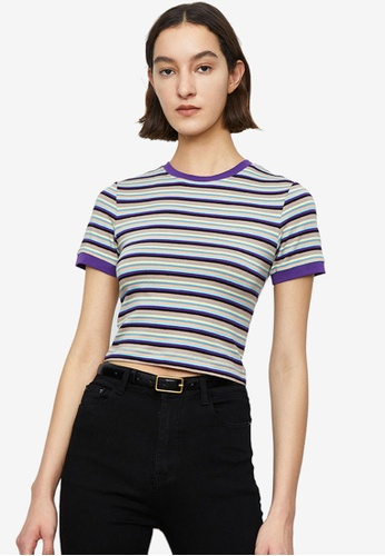 Urban Revivo blue Stripe Short Sleeve T-Shirt 01839AA59C9DCDGS_1