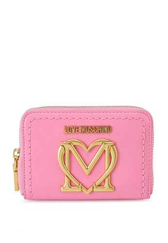 Love Moschino pink Love Logo Short Zip Around Purse 871BAACB618744GS_1