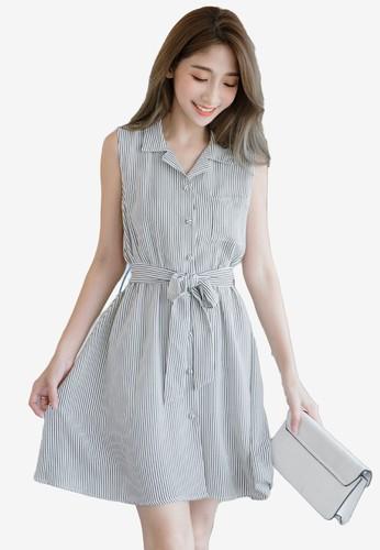 Eyescream white Striped Flare Shirt Dress 17316AAA142098GS_1