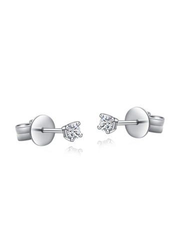 MaBelle silver 18K/750 White Gold Single Diamond Earrings 60D65ACCD6CBDBGS_1