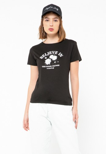 COLORBOX black Believe In Crew Neck T-Shirt 2B180AA218456BGS_1