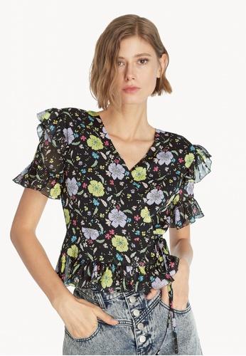 Pomelo black Sheer Floral Ruffle Blouse - Black CC8B1AAA2F40D7GS_1