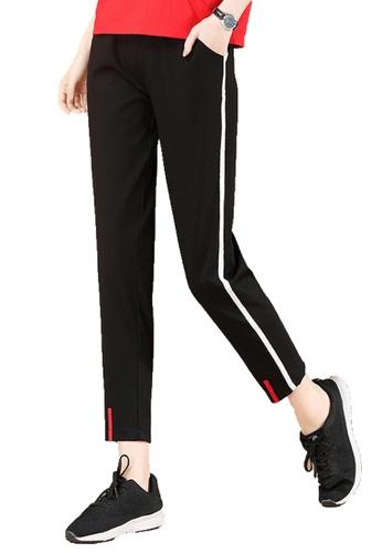 A-IN GIRLS black Elastic Waist Sports Casual Pants 6A65EAA64DA4D7GS_1