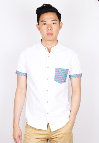 Moley white Oriental Fan Pocket Mandarin Collar Short Sleeve Shirt 2F453AA0ED9655GS_1