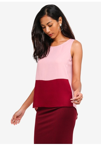 ZALORA BASICS red and multi Basic Sleeveless Double Fold Top 01C50AAC3A379CGS_1