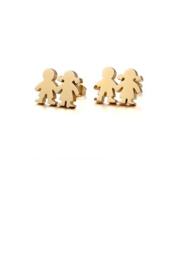 Glamorousky silver Fashion Cute Plated Gold Couple Cartoon Character 316L Stainless Steel Stud Earrings EA75AAC489B16CGS_1