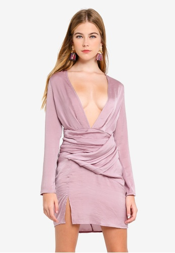 59d8e163b1 MISSGUIDED purple Silky Long Sleeved Panelled Shift 3F616AA6669EEFGS 1