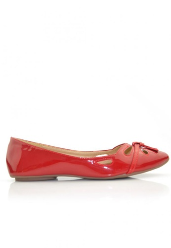 SHINE red Flora Cut Out Ballerinas SH554SH37RKWSG_1