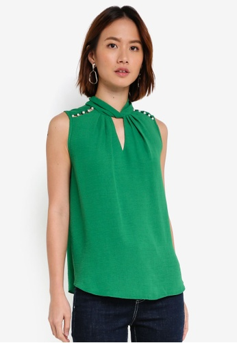 Dorothy Perkins green Green Linen Pearl Detail Top 64A02AAD58747BGS_1