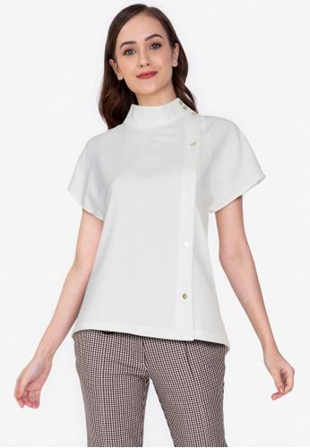 ZALORA WORK 白色 側鈕釦上衣 7492FAA32D08DDGS_1