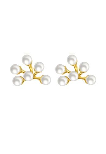 SUNRAIS gold High quality Silver S925 golden flower earrings DD249AC5097F55GS_1