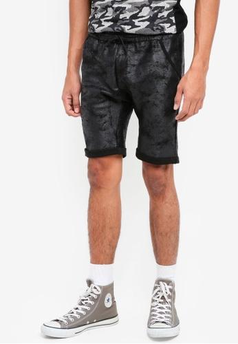 UniqTee black Textured Jersey Shorts 2ED66AA88B664EGS_1