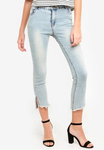 Eyescream blue Split Hem Cropped Jeans 45C58AA91A34A2GS_1