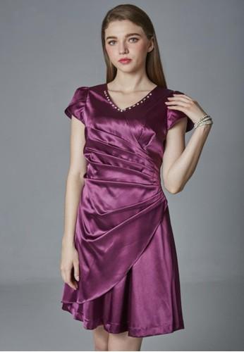 經典esprit台北門市緞面放射摺洋裝, 服飾, 派對洋裝