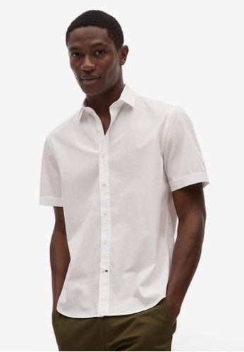 Mango Man white Regular-Fit Cotton Short Sleeve Shirt 37718AA423540FGS_1