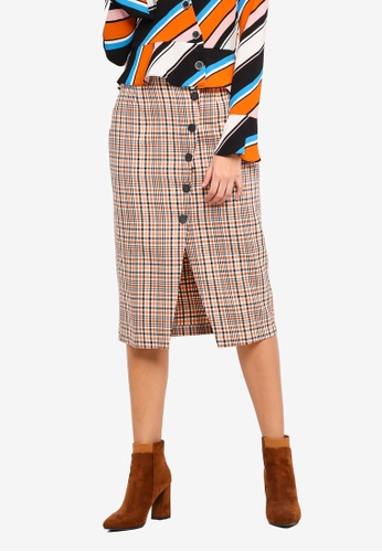 79e69f00c349 Miss Selfridge brown Rust Check Button Pencil Skirt C3BC8AA9EDE2E2GS_1