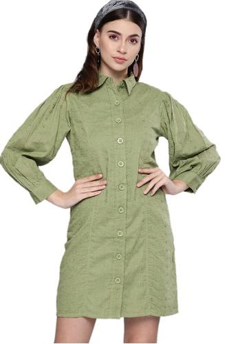 SASSAFRAS green Olive Schiffli Shirt Dress 0F319AAD339A9DGS_1