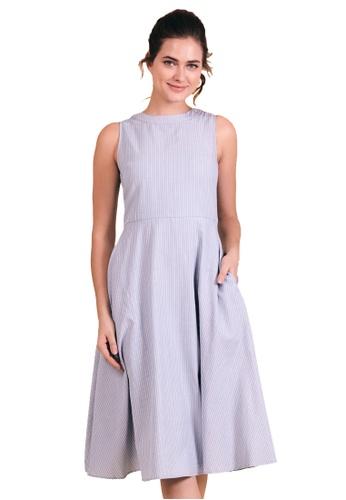 Kitschen blue Pin Stripe Midi Dress 0524AAA567B444GS_1