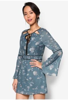 Premium 蕾絲鏤空喇叭長袖連身褲