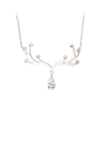 Glamorousky white Fashion Simple Elk Antlers Water Drop-shaped Cubic Zirconia 316L Stainless Steel Necklace 8A53EAC64B69C9GS_1