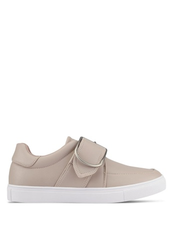 ZALORA grey Front Strap Buckle Sneakers 4519ASH3A5EF78GS_1